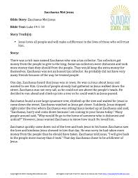 zacchaeus met jesus story summary children u0027s bible activities