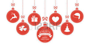 set of 7 hanging baubles with symbols such as santa