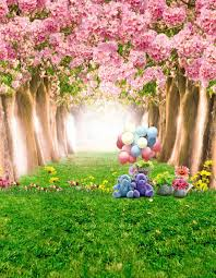 blossom trees 8x12ft pink flowers blossom trees tunnel bear green grass path