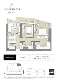 address dubai opera floor plan 2br t1 unit 07 level 4 12 16 36