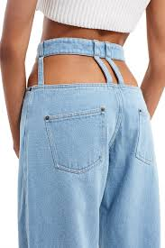 Comfort Colors Washed Denim Y Project Cut Out Trousers Crated In A Light Washed Denim These