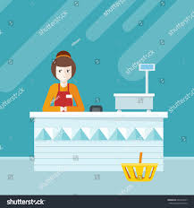 Interior Assistant Quality Service Shop Assistant Sitting Cash Stock Illustration