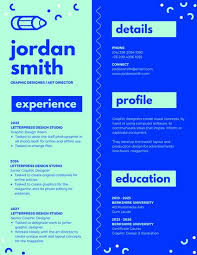 neon green and blue creative resume templates by canva