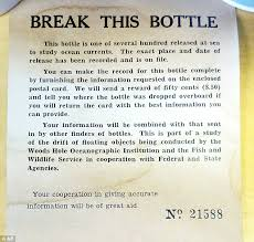 message in a bottle found in scotia nearly 60 years after