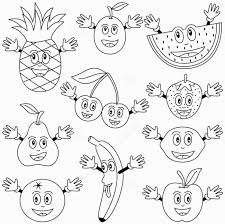 colored fruits and vegetables coloring page coloring pages