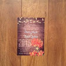 cheap rustic wooden string light jar fall wedding invites