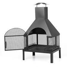 Chimney Style Fire Pit by Ikayaa Large Chimney Garden Outdoor Patio Fire Pit Lovdock Com