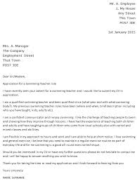swimming teacher cover letter example u2013 cover letters and cv examples