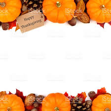 happy thanksgiving tag with autumn border white stock
