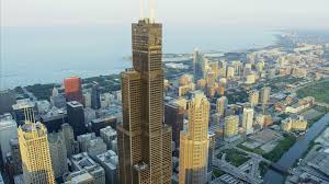 Sears Tower Aerial Sunlight Sunset View Of Sears Tower Chicago Illinois