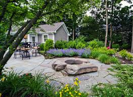 Stone Patio With Fire Pit Exterior Inspiring Landscape Natural Stone Installation Design
