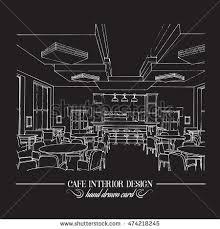 Interior Design Drawing Templates by Hand Drawn Illustration Restaurant Interior Design Stock Vector