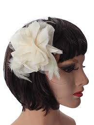 bridal hair clip ivory silk tulle flower feather hair clip brooch bridal hair