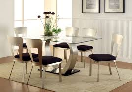 glass top dining table set 6 chairs retro glass top dining table set with 6 pu leather chairs table