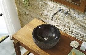 melia natural stone bathroom vessel sink in shanxi black granite