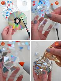 diy mosaic ornaments from cds cover anything from garden pots to