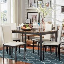darcy faux marble top metal 5 piece casual dining set by inspire q