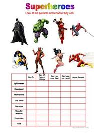 27 free esl superheroes worksheets