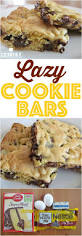 lazy chocolate chip cookie bars are made with a boxed cake mix and