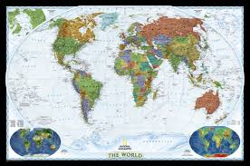 World Atlas Maps by Decorator World Map Standard Size Wall Maps