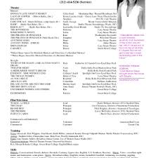 Musical Theatre Resume Examples by Cover Letter Template For Acting Resume Sample Collection Cover Letter