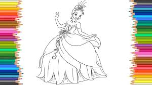 tiana disney princess coloring page l coloring markers videos for