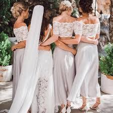 2 pieces lace top short sleeve beach wedding bridesmaid dresses