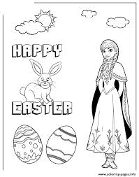 disneys frozen anna and easter bunny colouring page coloring pages