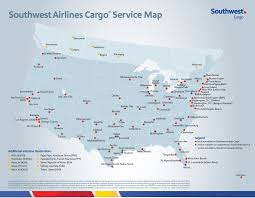 Map Of Sw Usa by Southwest Air Cargo Map And Cargo Destinations