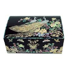pearl necklace boxes images Mother of pearl wooden jewelry box inlaid with peacock design jpg