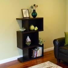 simpli home kitchener dark walnut brown open bookcase 3axcrgl004