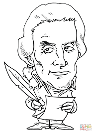 thomas jefferson caricature coloring page free printable