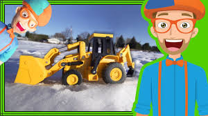 fun in the snow with blippi plush doll and backhoe digger youtube