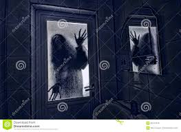 horror woman in window wood hand hold cage scary scene halloween
