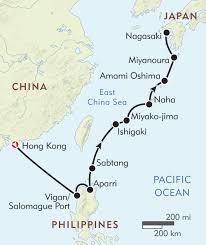 East China Sea Map Hong Kong To Nagasaki Itinerary U0026 Map Wilderness Travel