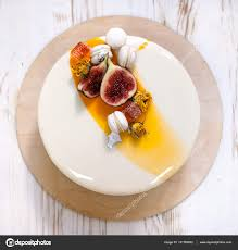 mirror glaze cake minimalistic mousse cake with violet white and orange mirror glaze