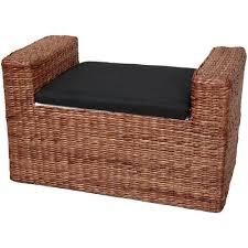 amazon com oriental furniture rush grass storage bench dark