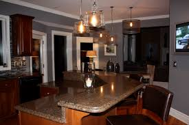 kitchen quartz countertops with oak cabinets dark cherry light