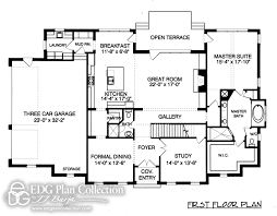 Georgian Floor Plan by 4 Baths Edg Plan Collection