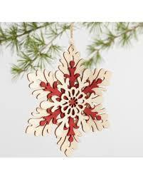 bargains on and wood snowflake ornaments set of 3 by