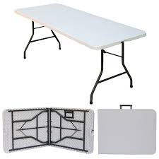 plastic fold out table 6 x 2 6 folding blowmold trestle table fold in half tables be