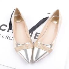silver flat wedding shoes europe and america new shallow flat shoes gold silver flat