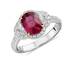 ruby diamond ring ruby and diamond halo ring in 18k white gold 2 02 ct center