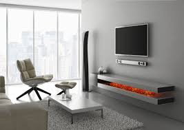 Living Room Wall Units With Fireplace Under Wall Mounted Tv Shelves Made Of Wooden In Gray Finished With