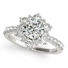 snowflake engagement ring diamond halo engagement ring snowflake moissanite rings