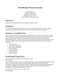 Resume Objective Food Service Resume Hospitality Manager Resume