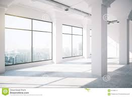empty white loft interior with big windows stock illustration