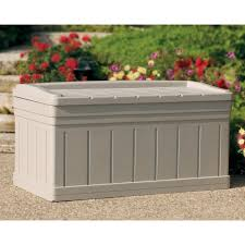 furniture deck box with seat outside storage bins suncast