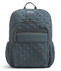 vera bradley quilted campus backpack in gray lyst