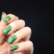 double stamping leafy green nail art keely u0027s nails
